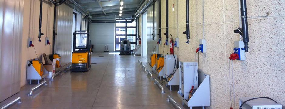 Sistema degassing per impianti aspirazione zone di ricarica muletti